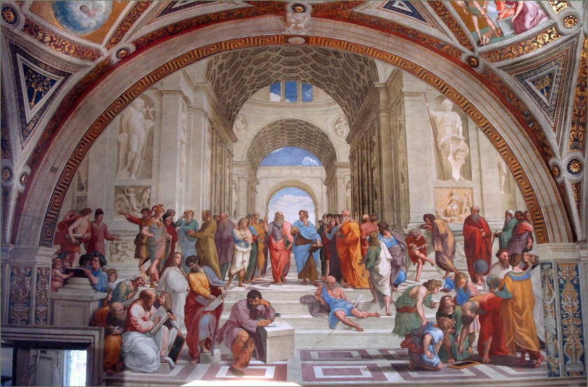 School of Athens (Which never really existed) by Raphel. In the centre there are Plato and his student, Aristotle.